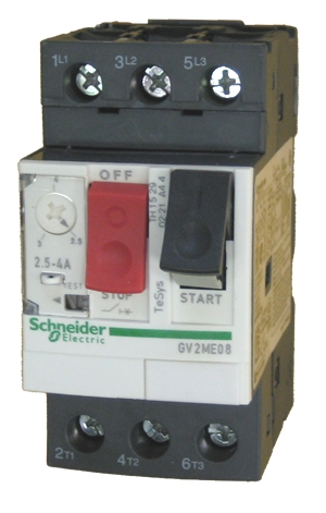 Telemecanique 4-6.3A Motor Circuit Breaker GV2ME08 with GVAN11 Auxiliary Contact